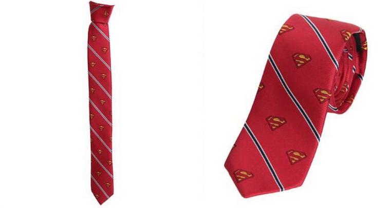 Superman Shield and Stripe Men's Red Silk Tie