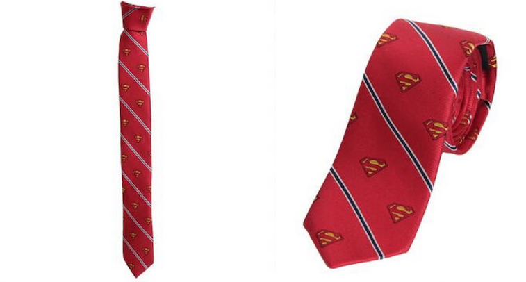 Superman Shield and Stripe Men's Red Silk Tie