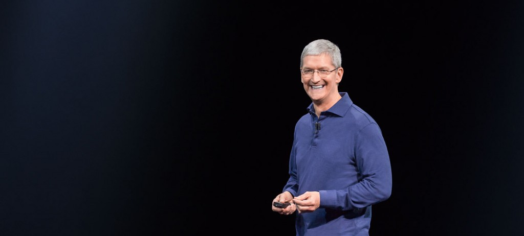 Tim Cook during the WWDC keynote in June 2015