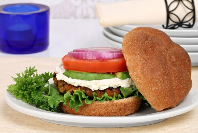 black bean burger with avocado and onion