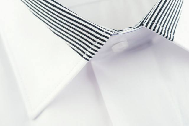 Dress shirt collar with stripes