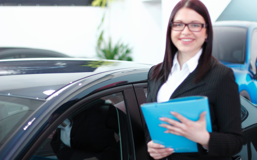 Woman selling a car