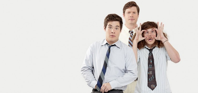 Blake Anderson, Adam DeVine, and Anders Holm strike funny poses in a poster for Workaholics