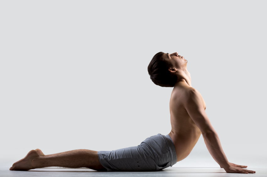 Yoga pose bhudjangasana, stretching