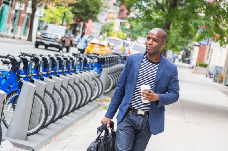man wearing stylish blue blazer