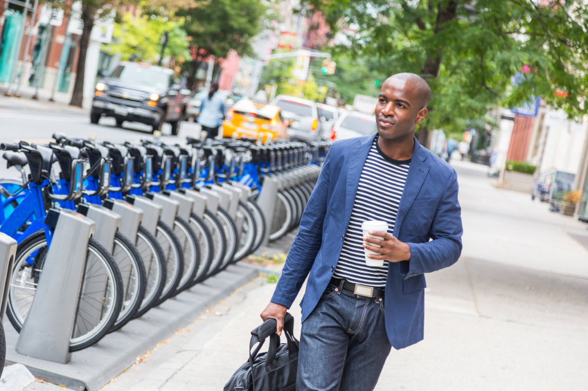 Young Man Commuting, blazer, apparel