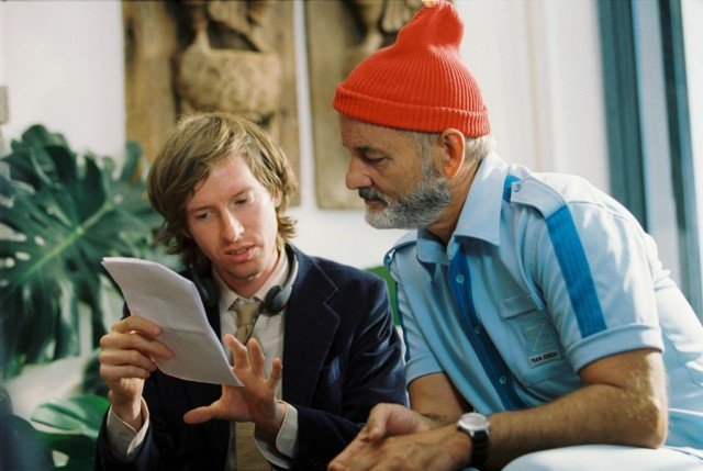 Wes Anderson and Bill Murray on the set of 'The Life Aquatic with Steve Zissou'