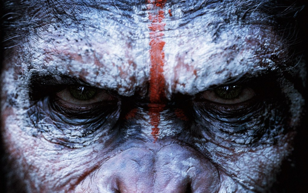 A close up of Caesar's eyes in Dawn of the Planet of the Apes