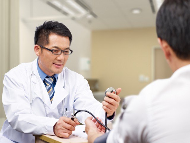 Man visiting the doctor for a check-up