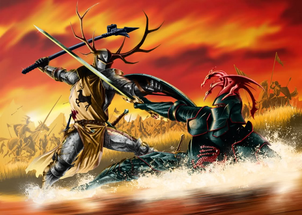 A man with antler armor raises a hammer at another armored man holding a sword down on the ground