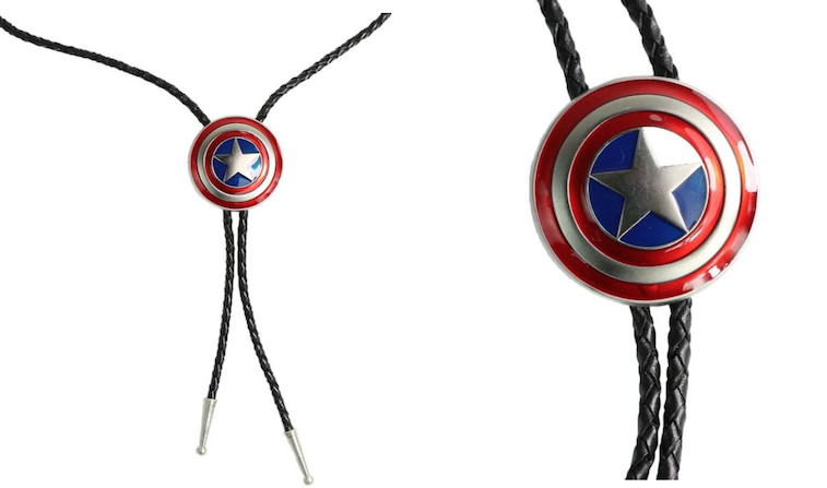 Zheli Men's Luxury Captain America Shield Western Cowboy Artistic Bolo Tie