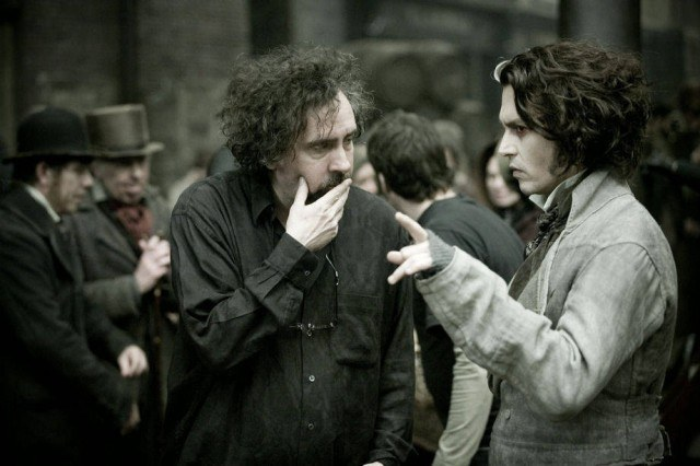 Tim Burton and Johnny Depp on the set of 'Sweeney Todd: The Demon Barber of Fleet Street'