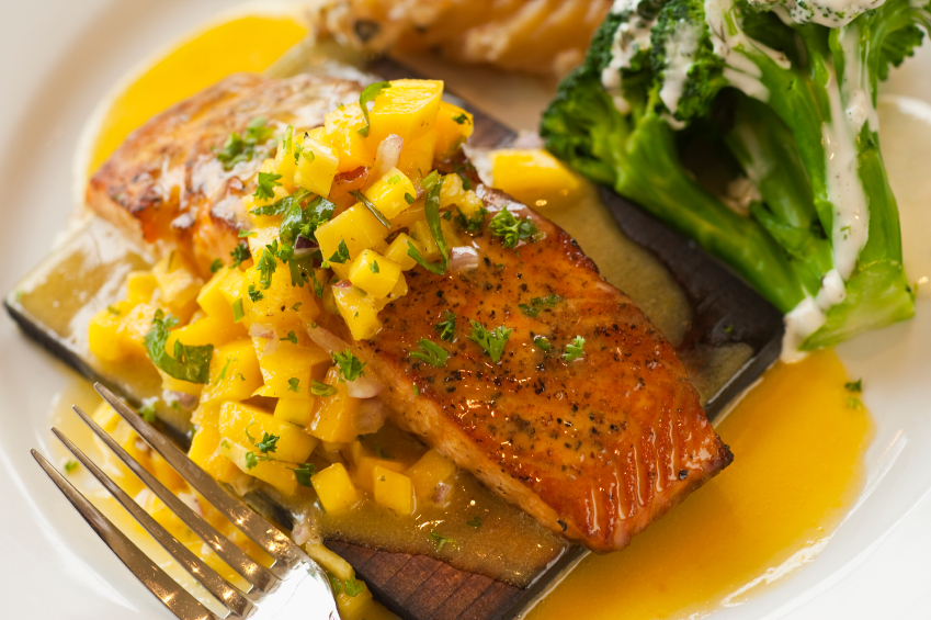 salmon, mango salsa