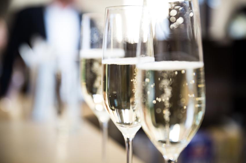 champagne glasses, bar