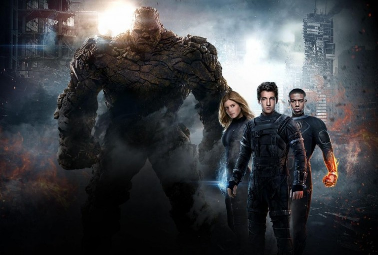 The Fantastic Four, together in a stormy background, posing for a promo image