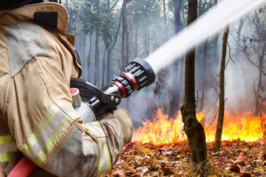 Firefighter fighting fire