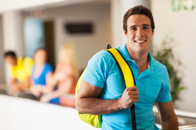 Student wearing neon colors