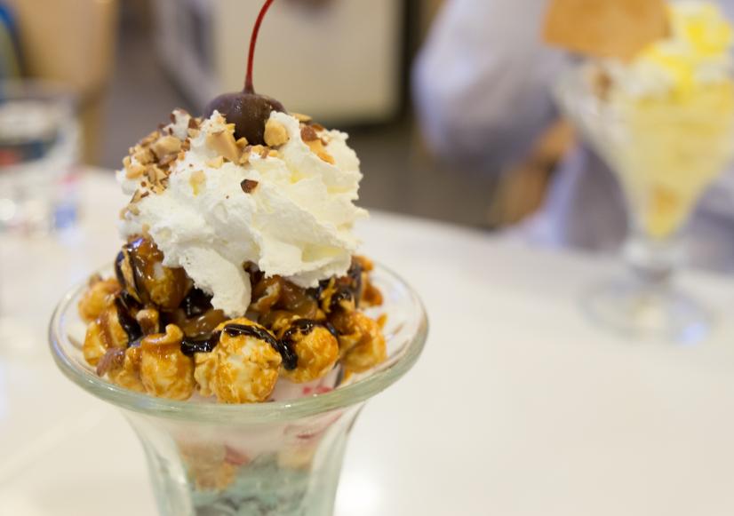 caramel corn ice cream sundae