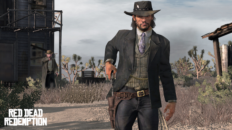 John Marston pulls a six-shooter from his hip holster in Red Dead Redemption.