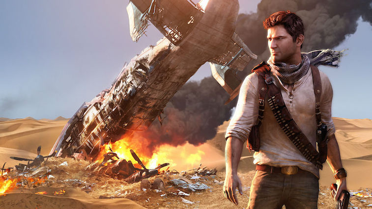 Nathan Drake in front of a plane crash in 'Uncharted 3'