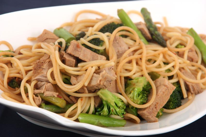 pork, broccoli, asparagus, noodles, soy