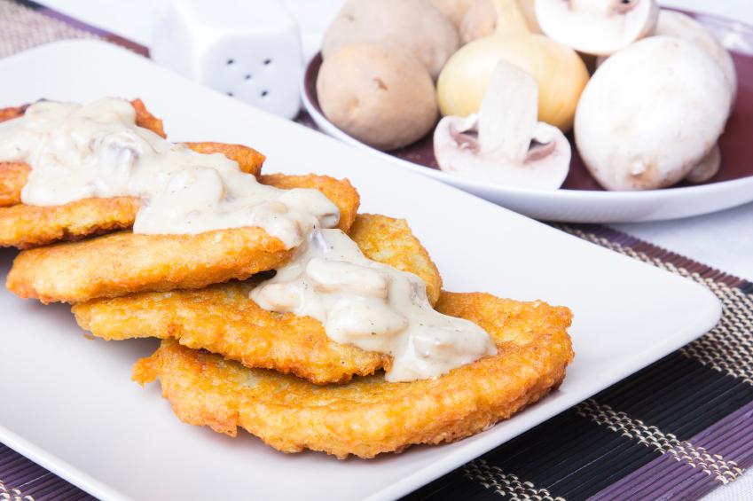 potato pancakes, mushroom sauce, gravy