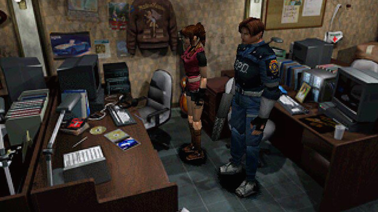 The two main characters of Resident Evil 2 inspect an office.