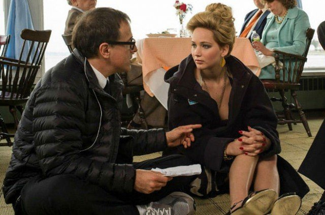David O. Russell and Jennifer Lawrence on the set of 'American Hustle'