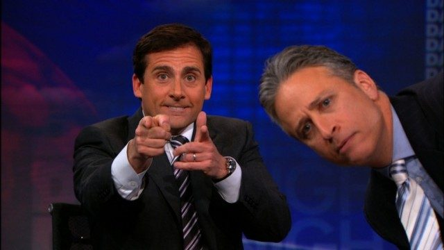 Steve Carell and Jon Stewart
