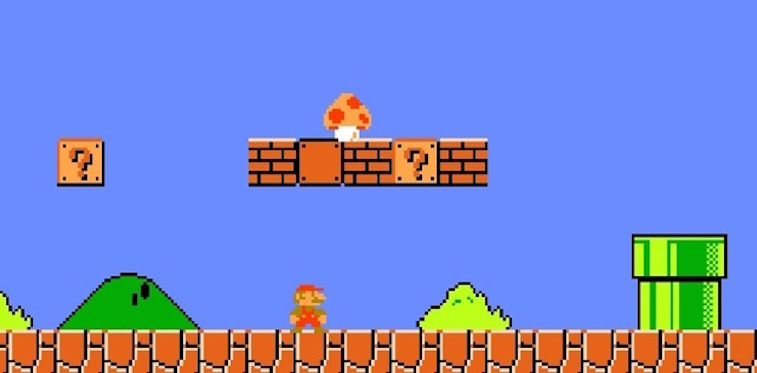 The first stage of 'Super Mario Bros.' for NES