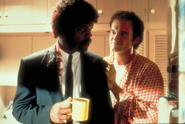 Samuel L. Jackson and Quentin Tarantino on the set of 'Pulp Fiction'