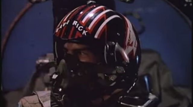 "Tom Cruise as a fighter pilot in ""Top Gun"""