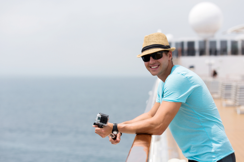 young man on cruise ship, boat, travel