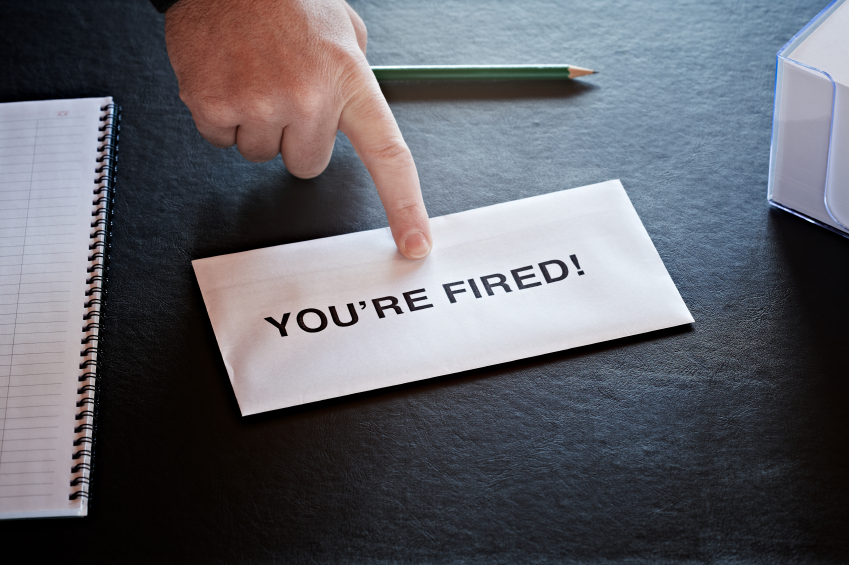 "A note stating, ""You're fired!"""