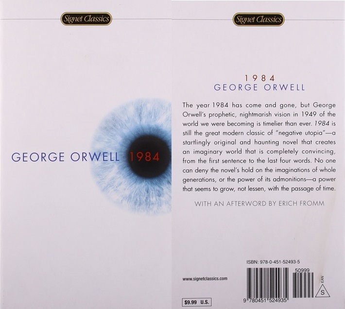 1984 cover art, with a single, blue eye highlighting the title