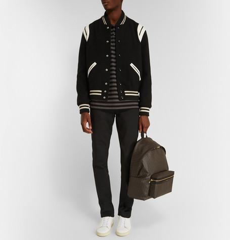 Saint Laurent Leather Varsity Jacket