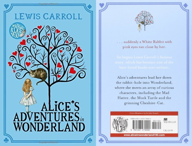 Cover art for Alice's Adventures in Wonderland, with Alice standing under a tree, with the Cheshire Cat