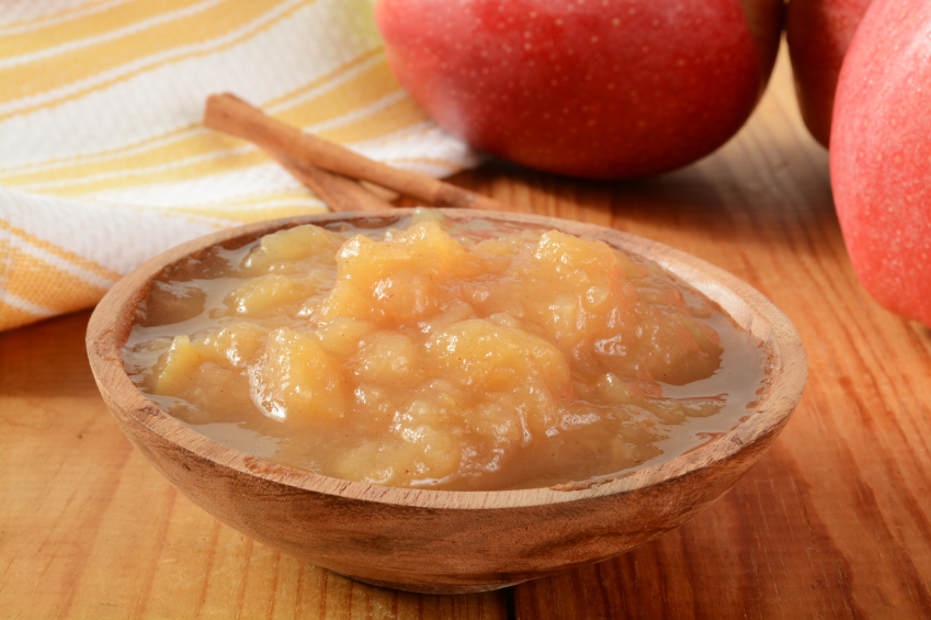 Applesauce in a wooden bowl