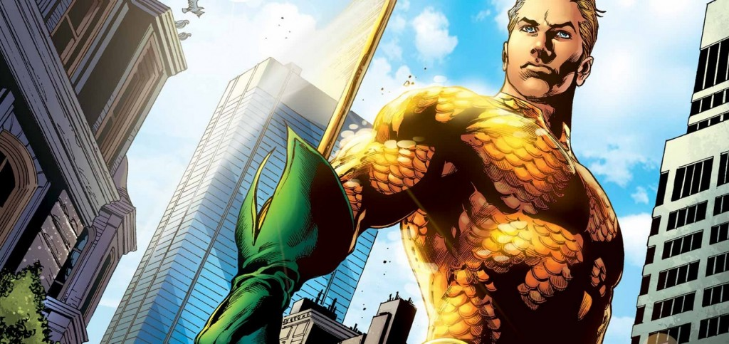Aquaman posing, set to a downtown city background