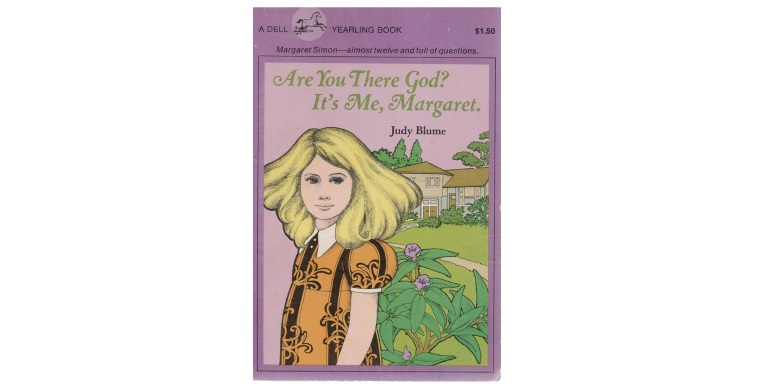 Cover art for Are You There God? It's Me, Margaret, with a young blonde girl wearing an orange shirt