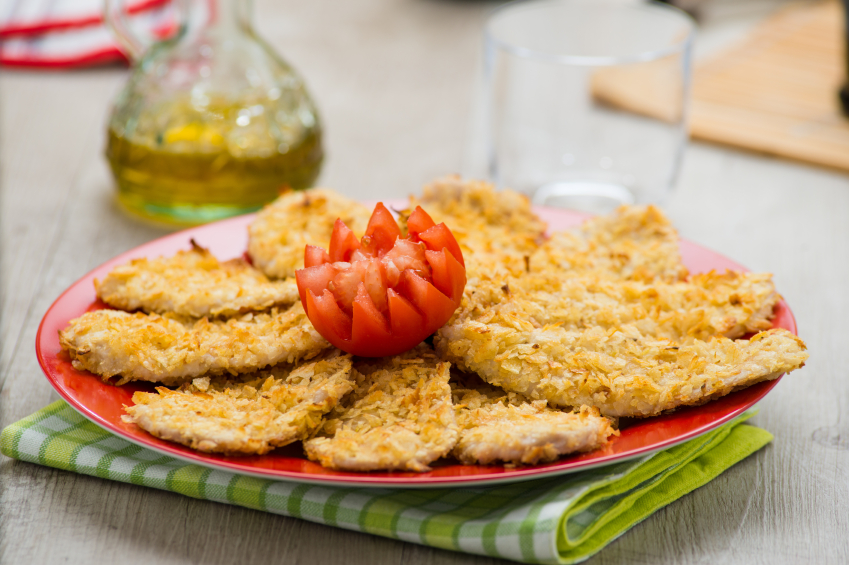 breaded chicken, crusted