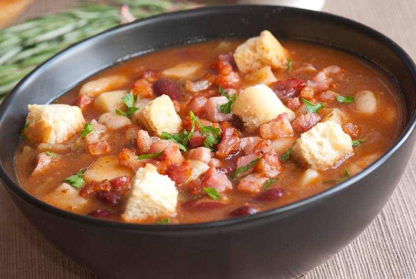 bean soup, bacon, croutons
