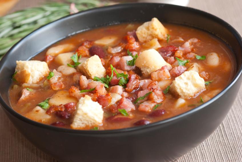 bean soup, bacon, croutons