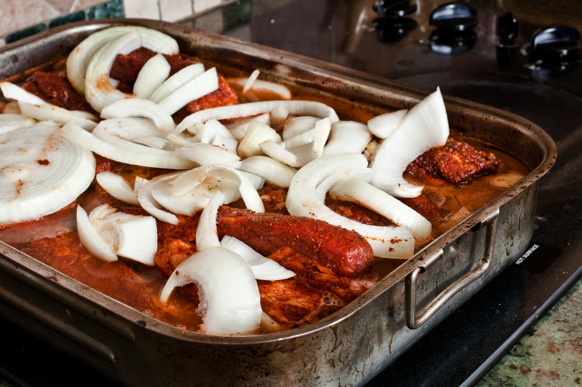 beef brisket, onions, braising
