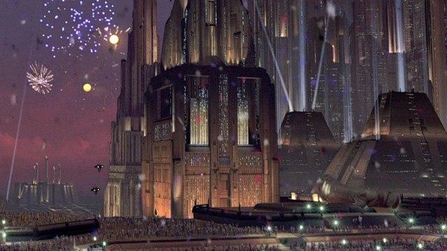 Coruscant celebrates the fall of the Empire