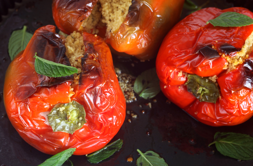 Couscous And Feta-stuffed Peppers Recipe — Dishmaps