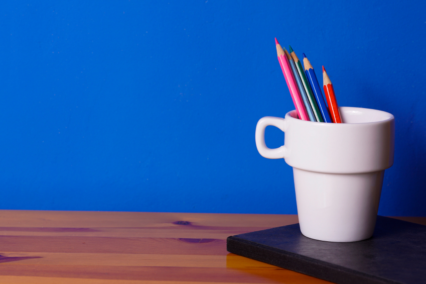 A cup with pencils