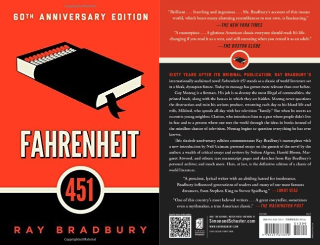 Cover art for Fahrenheit 451, with a box of matches doubling as a book