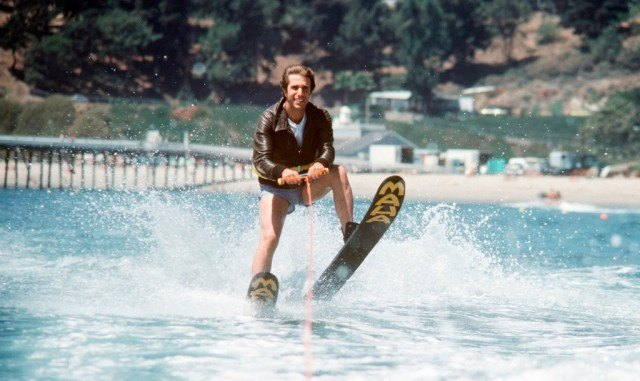 Fonzie waterskiing on 'Happy Days'.