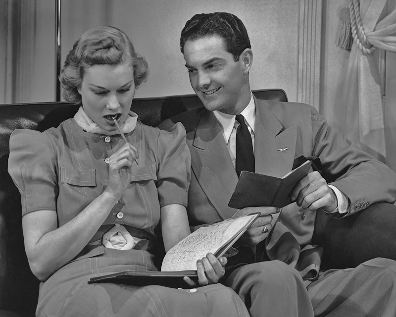Couple reviewing budget